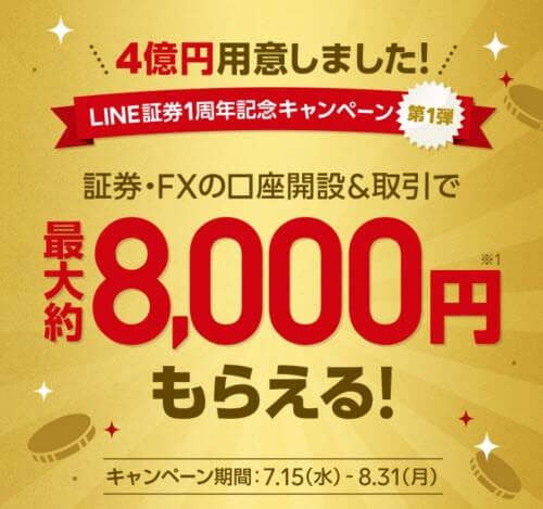 LINE証券最大8000円キャンペーン