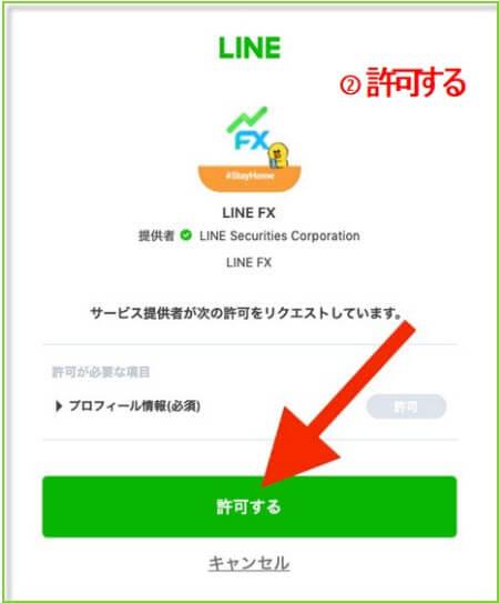 LINEFXお友達追加画面